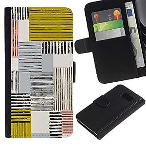 LASTONE PHONE CASE / Lujo Billetera de Cuero Caso del tirón Titular de la tarjeta Flip Carcasa Funda para Samsung Galaxy S6 SM-G920 / Abstract Mustard Yellow Lines Checkered