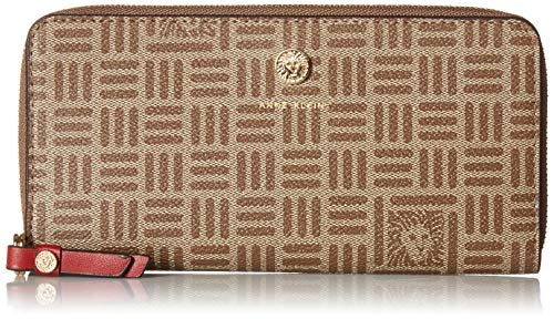 Anne Klein Printed Logo SLG Slim Zip Around Wallet, firebrick