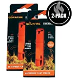 QUICKFIRE Flint Strike Master Emergency Waterproof Fire Starter Over 10,000 Strikes Sparks at Over 5,000 Degrees - Magnesium Fire Starter Great Camp Flint Striker All Weather Fire Starter (2 Pack)