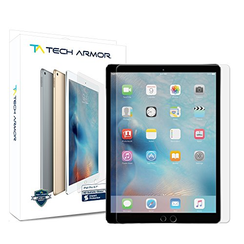 iPad Pro 9.7-inch (2016/2017) Glass Screen Protector, Tech Armor Premium Ballistic Glass Apple iPad Pro 9.7-inch Screen Protectors - 2016 Glasses