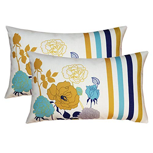 sykting Oblong Pillow Covers Pack of 2 Summer Flowers Series Cotton Linen Decorative Cushion Covers 12 x 20