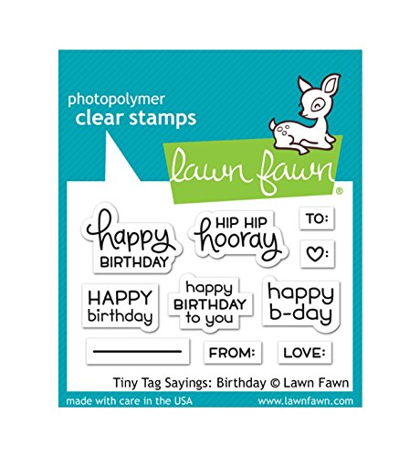 Clear Stamps Small Tag (Lawn Fawn LF1421 Tiny tag sayings: birthday clear stamps)