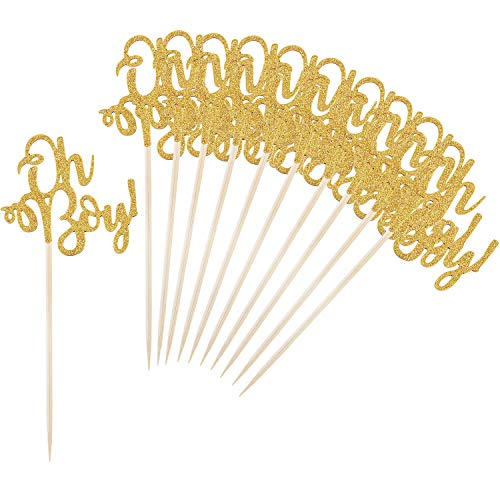 BBTO 30 Pieces Cake Toppers Oh and Boy Cake Topper Golden Topper Decoration for Gender Reveal -
