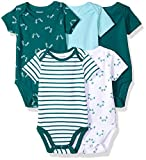 Hanes Ultimate Baby Flexy 5 Pack Short Sleeve Bodysuits, Greens, 12-18 Months