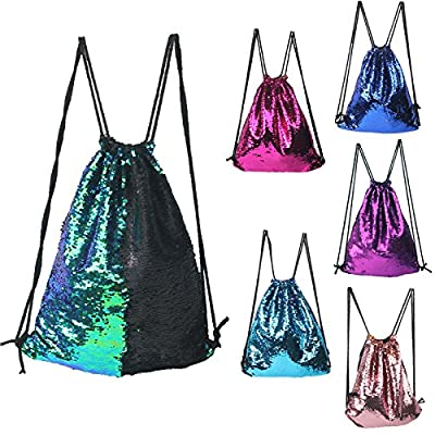 Mermaid Drawstring Bag Magic Reversible Sequin Backpack Glittering Dance Bag for Yoga Outdoors Sports,Valentine's Day Gift for Girls Women