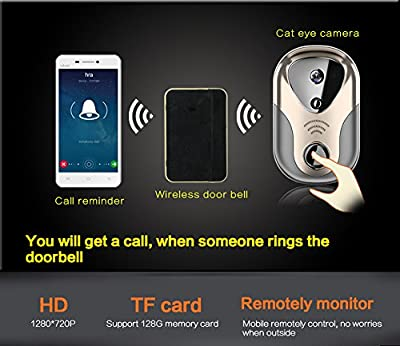 Mesirake Wifi Doorbell 163Eye HD Visual Intercom Wireless Alarm Night Vision Ring Video Call Reminder Monitor on Smartphone(Silvery)
