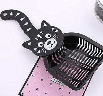 Peino - Pala de arena para gatos, diseño de cara de gato, color negro: Amazon.es: Hogar