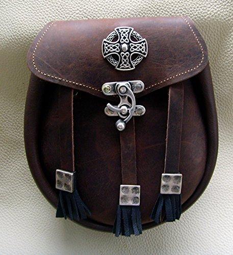 Kilt Tasche Sporran Kreuz der Kelten Farbe dunkel braun