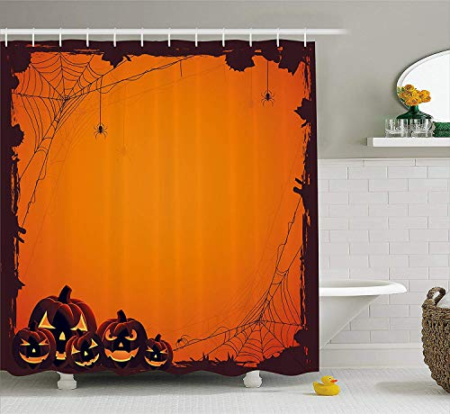 U coolhouse Halloween Decorations Shower Curtain, Grunge Design Spider Web Pumpkins Horror Time of The Year Trick Or Treat Decor, Bathroom Set with Hooks, 69W X 70L inches, Orange Seal Brown -