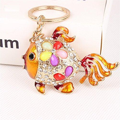 1pc Gold Fish Lovely Tail Flower Cute Crystal Charm Purse Handbag Car Key Keyring Keychain
