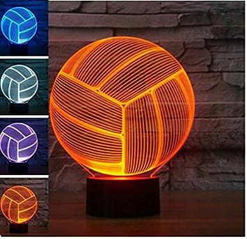 Amazon.com: Voleibol 3D Creativo Luz nocturna 7 Color Cambio ...