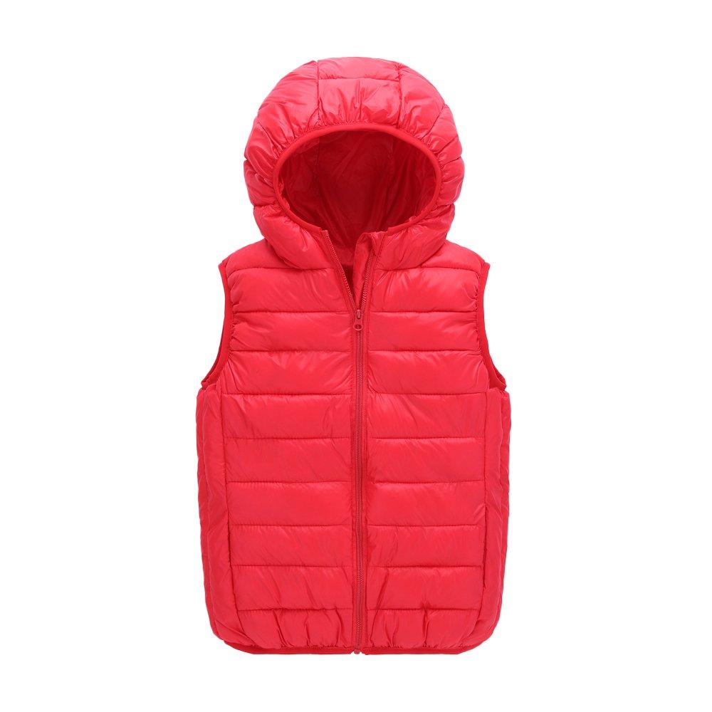 UGREVZ Children Girls Vest Hooded Waistcoats for Boy Outerwear(S005Red-8T)