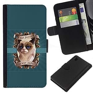 KLONGSHOP // Tirón de la caja Cartera de cuero con ranuras para tarjetas - Me divertí vez gruñón del gatito - Sony Xperia Z1 L39 //