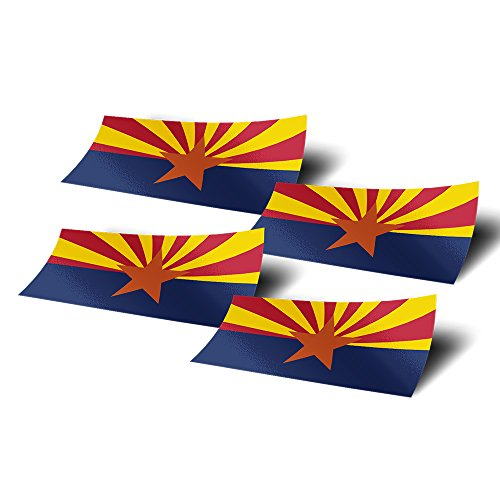 Desert Cactus Arizona AZ 4 Pack of 4 Inch Wide State Flag Stickers Decal for Window Laptop Computer Vinyl Car Bumper Scrapbook 4