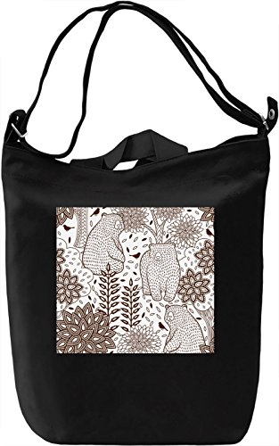 Bear Print Borsa Giornaliera Canvas Canvas Day Bag| 100% Premium Cotton Canvas| DTG Printing|
