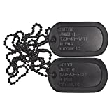 Tactical Gear Junkie Custom Personalized Black Subdued Dog tag Set with Chains and Silencers. DOGTAG