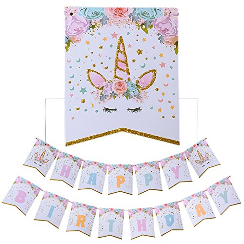 AMZTM Happy Birthday Bunting Banner Rainbow Unicorn Themed Party Decoration For Cute Fantasy Fairy Girls Birthday Party - Diy Party Supplies