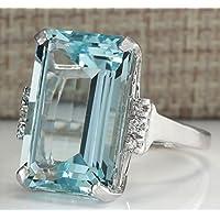 Women Fashion 925 Silver Emerald Cut Blue Aquamarine Wedding Jewelry Ring Sz5-12 by khime (6)
