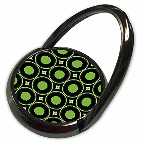 3dRose Anne Marie Baugh Patterns - Green and Black Scalloped Circles In Round Circles With Diamond Shape Accents - Phone Ring (phr_125204_1) (Shapes Circle Scalloped)