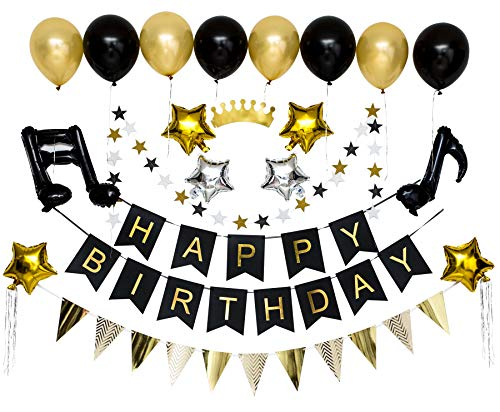 INWAY Party Supplies Favors Balloons Decorations Set - Gold Black Happy Birthday Decorations Stripes Triangle Flags Flash Star