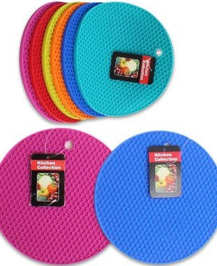3 Pack   7.25u0026quot; Diameter Kitchen Collection Silicone Hot Pad   Assorted  Color