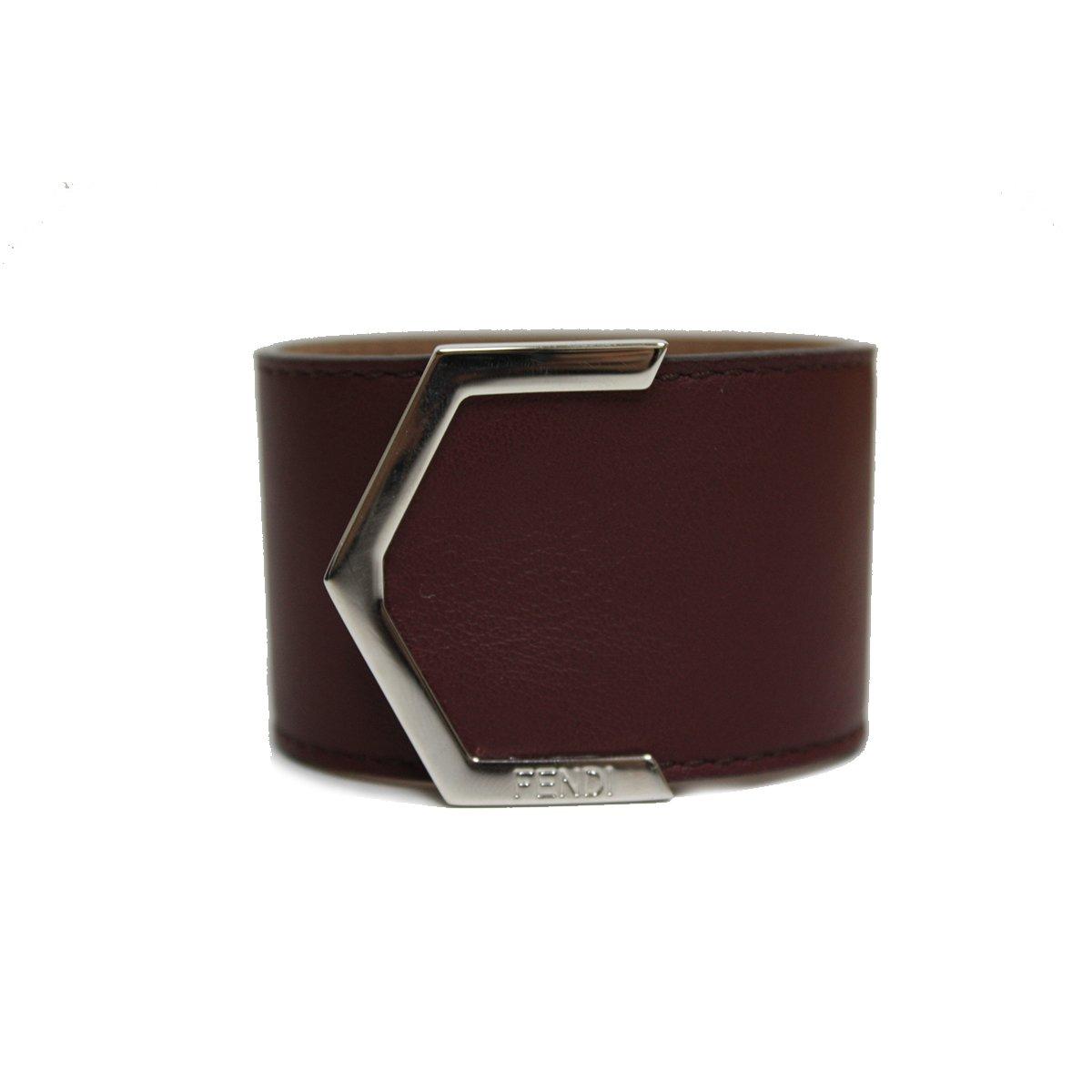 Fendi Leather Burdundy Cuff Bracelet 240015 by Fendi
