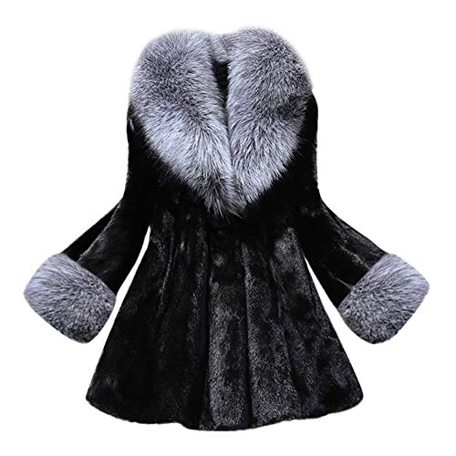 Women Down Jackets Duseedik Long Section of Imitation Overcoat Mink Coat with Cap Fur Coat Outwear Sweatshirts Black ()