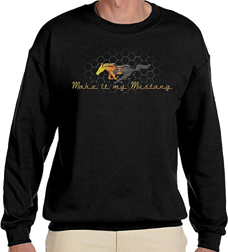 Amdesco Men's Make It My Mustang, Officially Licensed Ford Crewneck Sweatshirt, Black Large ()