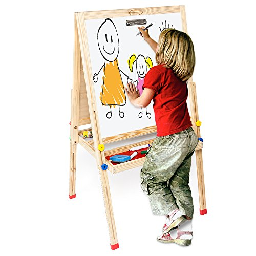 ShowMaven Upgraded Kids Easel for Painting,All-in-One Standing Blackboard Wooden Children's Art Easel,with Storage Tabletop Chalk Marker Color -