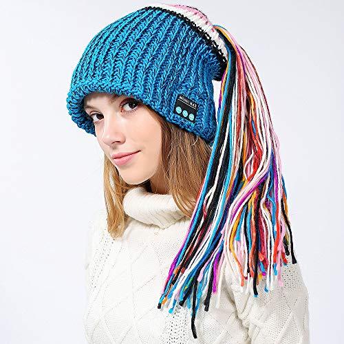 Price comparison product image Outsta Winter Wireless Bluetooth Hat,  Unisex Wireless Bluetooth 4.2 Smart Cap Headphone Headset Speaker Mic Knit Cap Headset for Men Women Boys Girl, Great Gift (Blue)