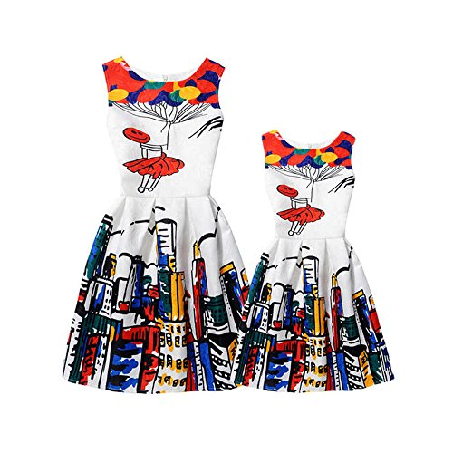 fd9f3b6874 2017 Summer Girls Dress Vintage Colorful Balloons and City Print Princess Mom  Daughter Clothes Family Look Mother Daughter Party Dresses Family Matching  ...