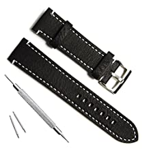 GreenOlive 23mm Handmade Vintage Cowhide Leather Watch Strap/Watch Band (White Stitch/Black) by Green Olive