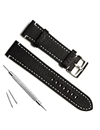 Green Olive 21mm Handmade Vintage Cowhide Leather Watch Strap/Watch Band (White Stitch/Black)