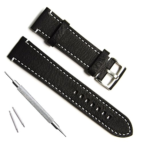 Handmade Vintage Replacement Leather Watch Strap/Watch Band (23mm, Sliver Buckle/Black) (23mm Leather Watch Band)
