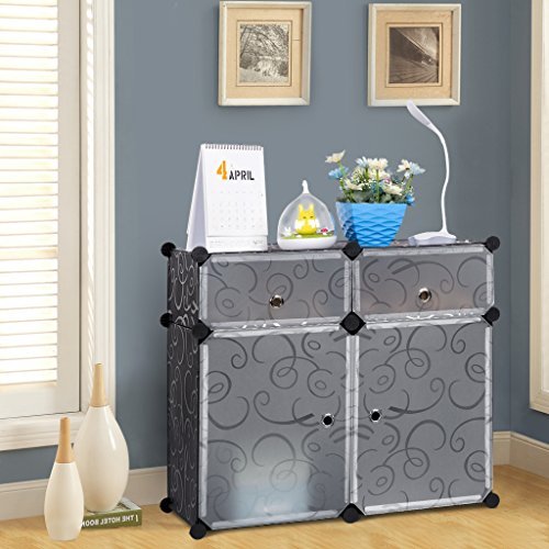 LANGRIA 4-Cube Storage Cube Closet Organizer Shelf Cabinet Bookcase, Shoe Rack Plastic Cabinet with Doors, 2 Cubbies and 2 Big Cubes, Black and White Curly Pattern (Shelf Unit With Doors)