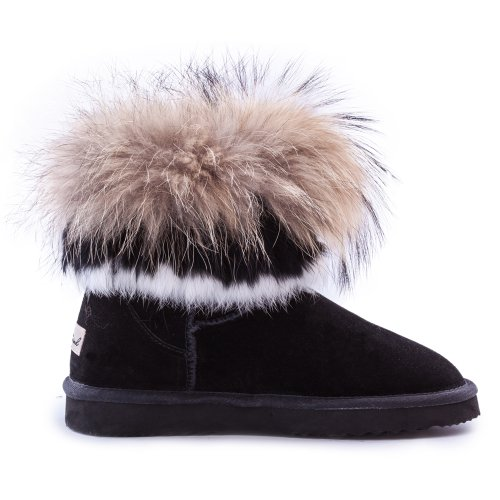 AUSLAND Womens Shoes Short Fur Trimmed Boots 99258 Black 2 T8SJL
