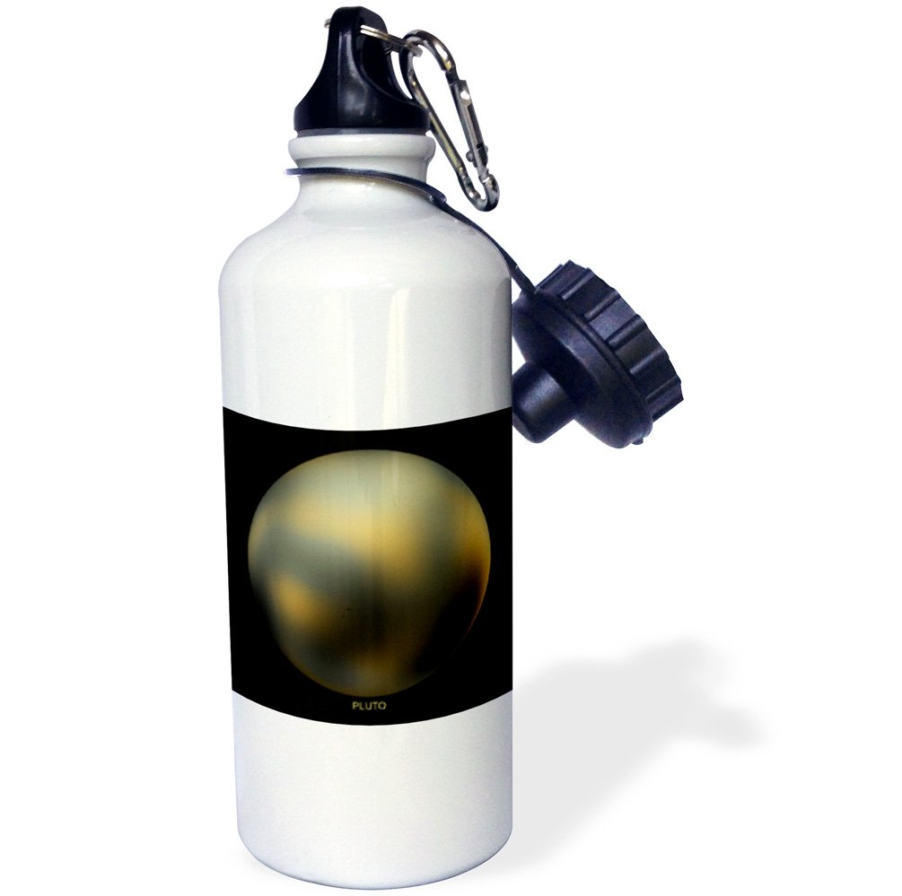 3dRose wb_76851_1 Solar System Pluto Former Planet Sports Water Bottle, 21 oz, Brown