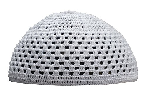 Hand-Crocheted Cotton White Skull Cap Open Weave Design Comfortable Head Cover (M)