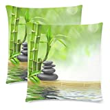 InterestPrint Green Spring Bamboo Pillowcase Pillow Case Cover 18x18 Twin Sides, Spa Stone Cotton Polyester Zippered Throw Cushion Pillow Case Decorative, Set of 2