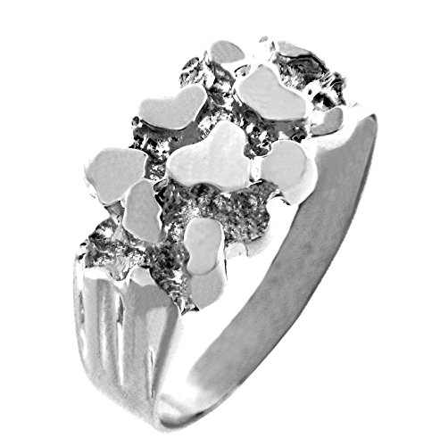 Men's 925 Sterling Silver Nugget Ring