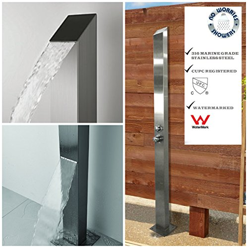 316 Marine Grade Stainless Steel Outdoor Indoor Shower Panel Unit CUPC Registered (TOORAK) Swimming Pool Shower Bathroom Hot & Cold Water Wall Mounted or Free (Stainless Steel Outdoor Shower)