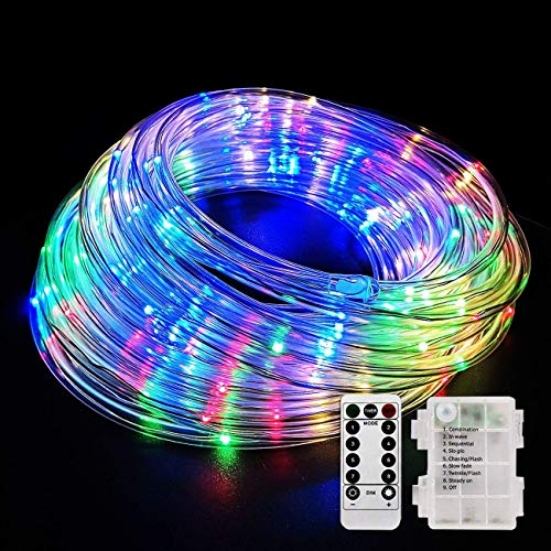YULAMP LED Rope Light Outdoor, Led Rope Light Battery Operated String Light 40FT 120LED/RGB Strip Light,Rope Light 8 Modes Fairy Lights Dimmable/Timer with Remote Control for Garden Christmas Camping