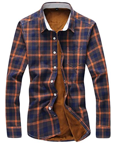 Fleece 1 Plaid today Shirt Long Lined Winter Thicken Men UK Casual Sleeve nqTAPYaqz