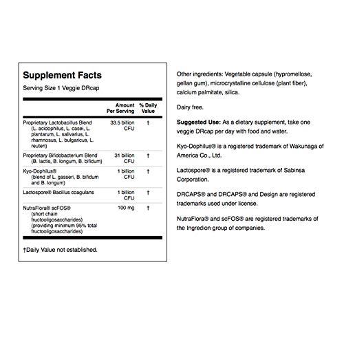 Swanson Ultra Potency Probiotic Digestive Health Immune System Support 66 Billion CFU Prebiotic NutraFlora scFOS 60 DRcaps Veggie Capsules (Caps) (2 Pack) by Swanson (Image #2)