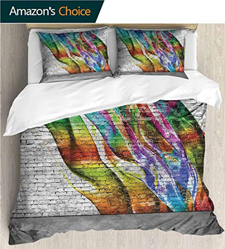 VROSELV-HOME King Duvet Cover Set,Box Stitched,Soft,Breathable,Hypoallergenic,Fade Resistant Bedding Sets,1 Duvet Cover,2 Pillowcase-Brick Wall Abstract Graffiti Urban (104