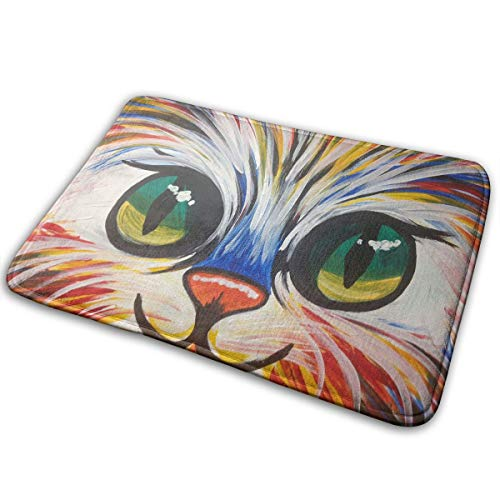 Jingclor Welcome Doormat, Entrance Floor Mat Rug Indoor Outdoor Front Door Mat with Non-Slip Rubber Backing, Printing Doormats with Colorful Kitty Face Painting, 15.8''WX23.6''L