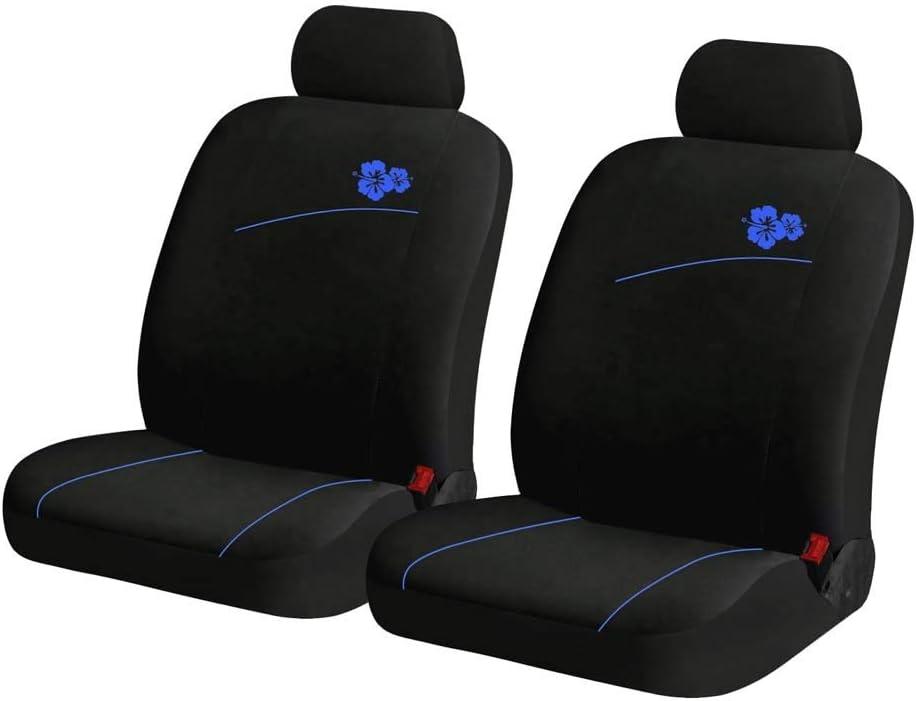 Color : Black blue Funda Asientos Coche Universal Completo Protector de Asiento con Estampado de Flores para Delanteros y Traseros Accesorios Interior Auto
