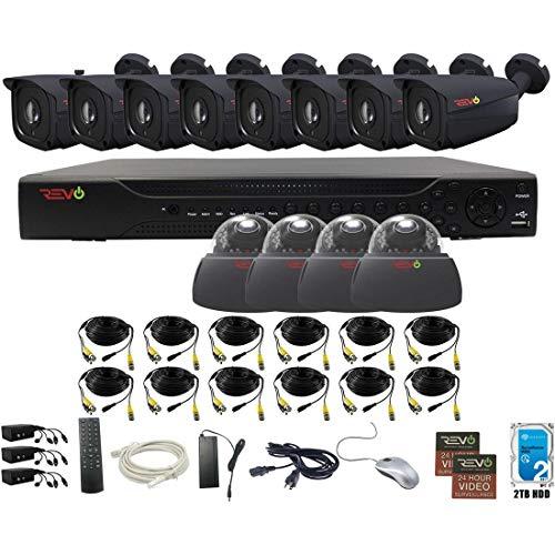 Revo America AeroHD 16Ch. 5MP DVR, 2TB HDD Video Security System, 8 x 5 MP IR Bullet Cameras, 4 x 5 MP IR Dome Cameras Indoor/Outdoor - Remote Access via Smart Phone, Tablet, PC & MAC -  RA163VD4IB8I-2TA