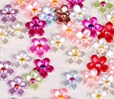 12mm Mixed Colors Half Flower Pearl Craft ABS Imitation Scrapbook Beads Embellishments DIY Decoration