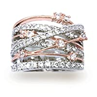Sparkly Bride Crossover CZ Rose Gold Plated Wide Band Fashion Statement Ring